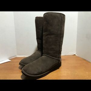 L L Bean Fur lined boots brown suede size 11